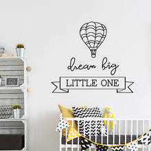 Hot Air Balloon Wall Sticker Removable Vinyl Mural Nursery Kids Bedroom Decor Dream Big Little One Quote Wallpaper AY1357