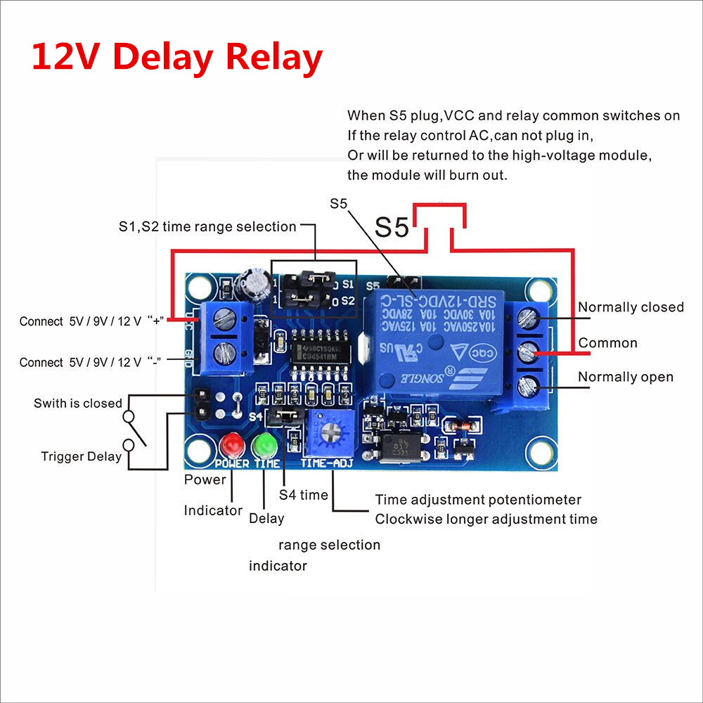 Smart Electronics 1pcs Delay Relay Delay Turn On / Delay Turn off Switch Module with Timer DC 12V dc 12v delay relay delay turn on delay turn off switch module with timer mar15 0