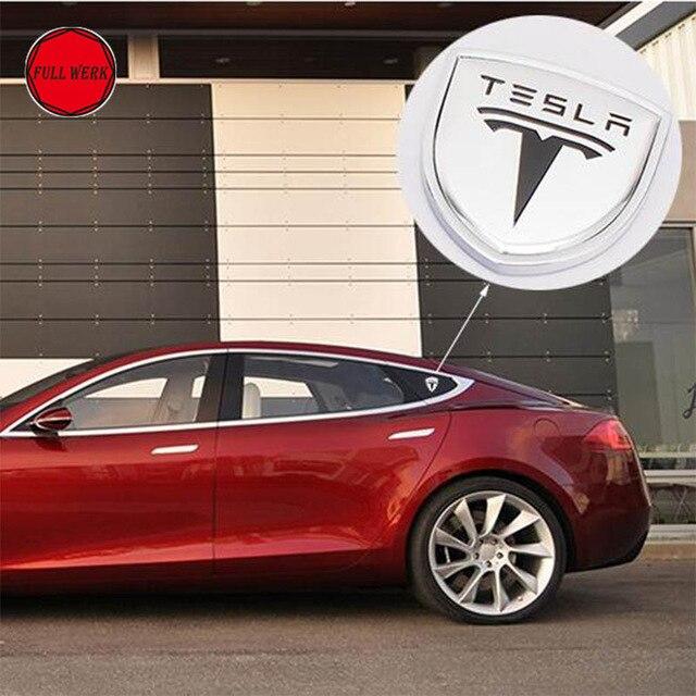 2pcs Car Body Sticker Side Window Pillar Emblem 3D Sticker Decor for Tesla Model S Model X Model 3 Roadster Decoration Accessory