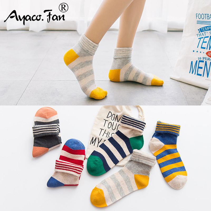 Candy Color Women Crew Socks Summer Autumn New Cute Slim Striped Patchwork Cotton Socks For Girls Lady Female Meias 5 Pairs/Lot