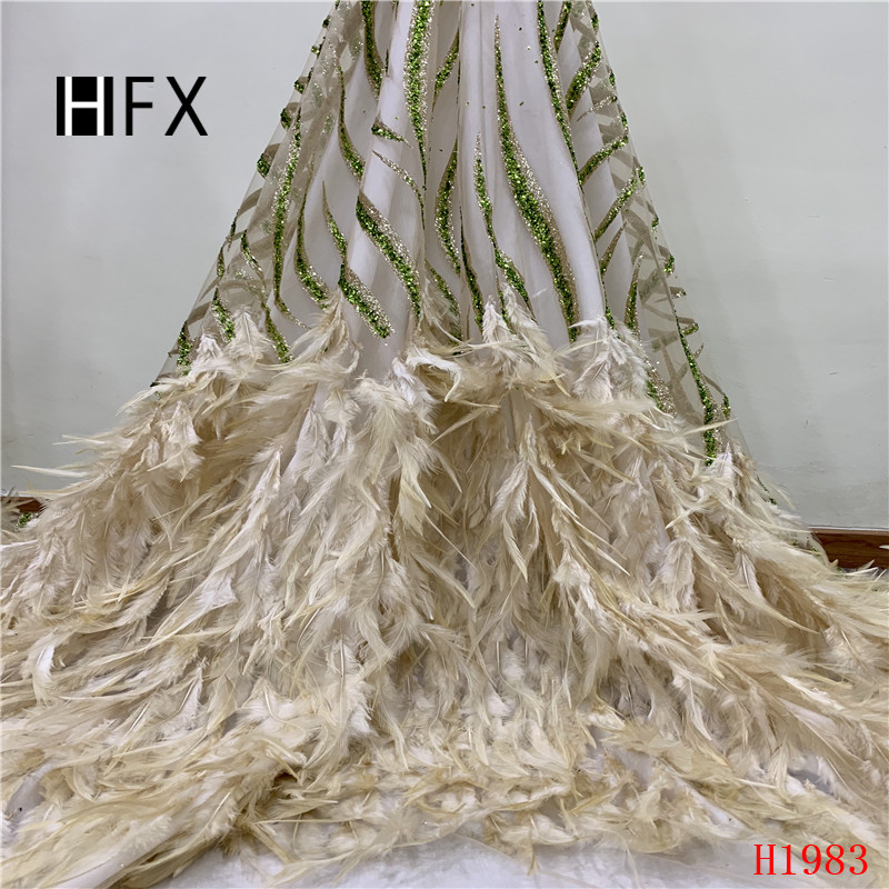 HFX French Feathers Lace Luxury Gold African Wedding Lace 2019 Sequin Embroidered High Quality Tulle Lace Fabric for Lady X1983HFX French Feathers Lace Luxury Gold African Wedding Lace 2019 Sequin Embroidered High Quality Tulle Lace Fabric for Lady X1983