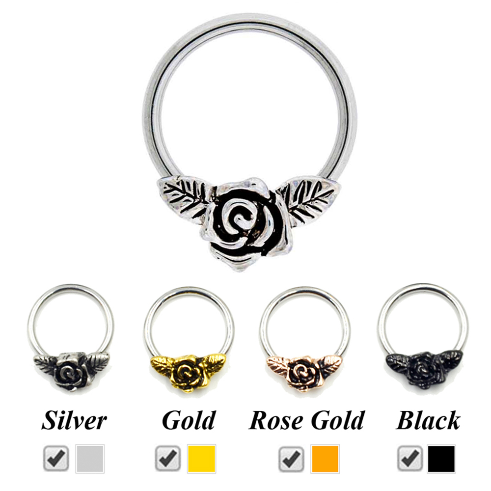 Rose Flower Nose Hoop Ring Clicker Retainer Body Piercing Ear Tragus  Cartilage Earring Captive Bead Labret