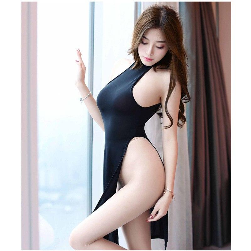 Porn Hot Sexy Lingerie High Fork Open Crotch Silk Slippery Cheongsam Nightdress Pajamas Erotic Underwear Babydoll Long Skirt