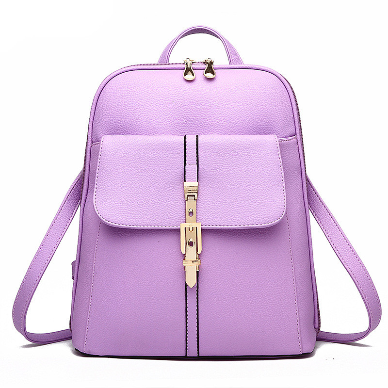 High Quality Pratical Schoolbag Casual Violet PU Traveling Women Backpacks Bag Buckle ZipperHigh Quality Pratical Schoolbag Casual Violet PU Traveling Women Backpacks Bag Buckle Zipper