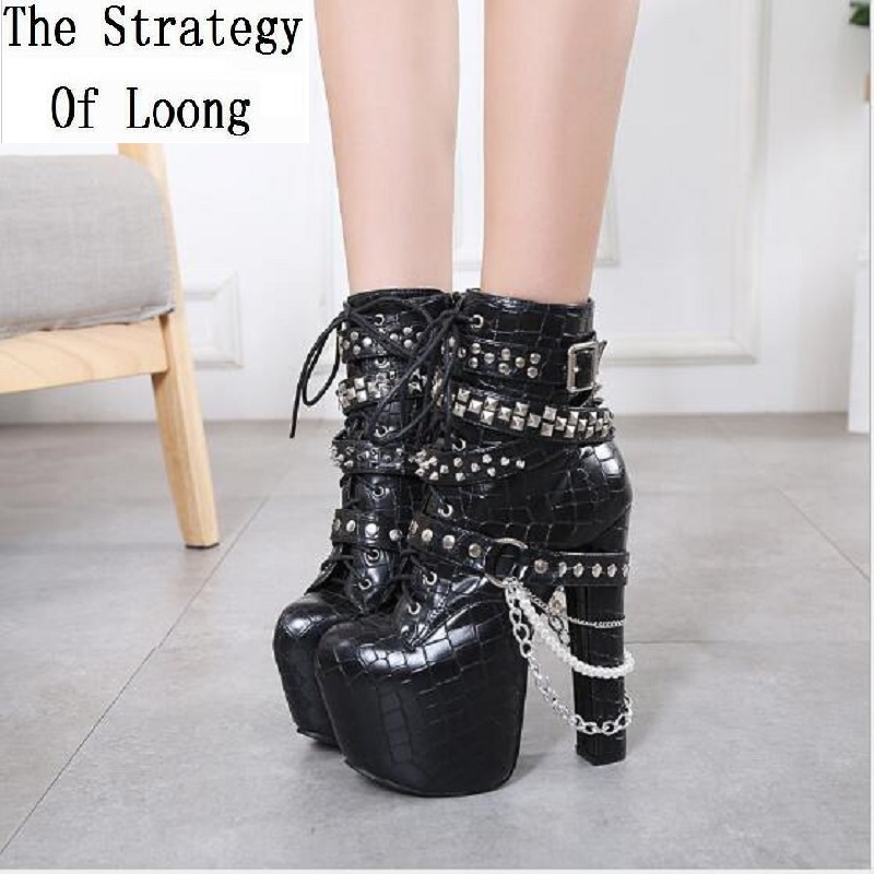 New Autumn Winter Super High Heels Platform Chain Rivets Pearl Buckle Women Shoes Ankle Lace up