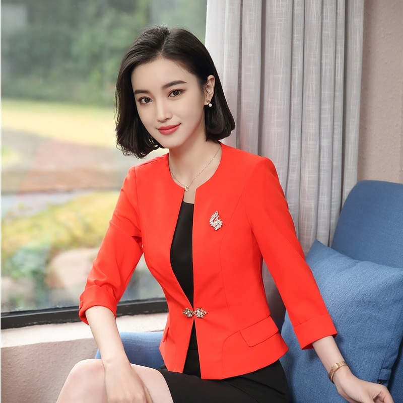 Elegant Orange Formal Uniform Designs Blazers & Jackets Coat For Women New Styles Female Tops Outwear Clothes Plus Size
