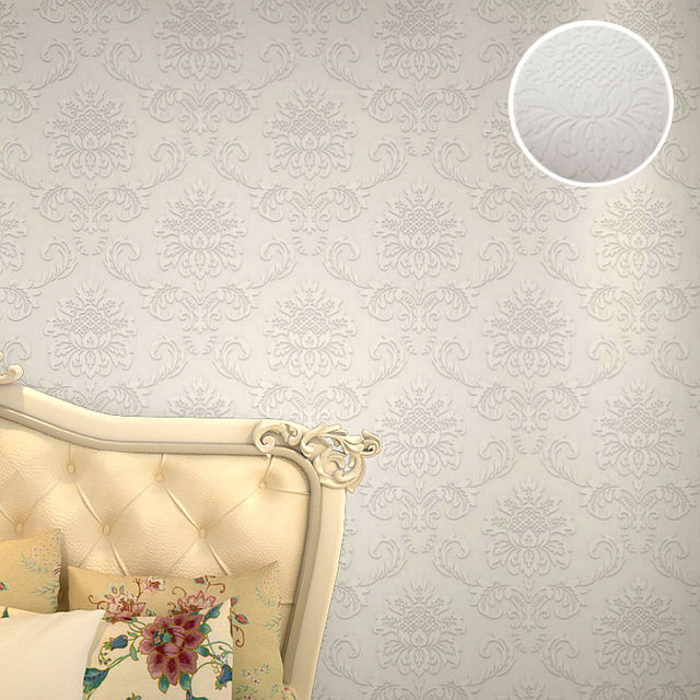 New 3D White Paintable Textured Wallpaper Non Woven Modern Classic European Embossed Damask Wall Paper