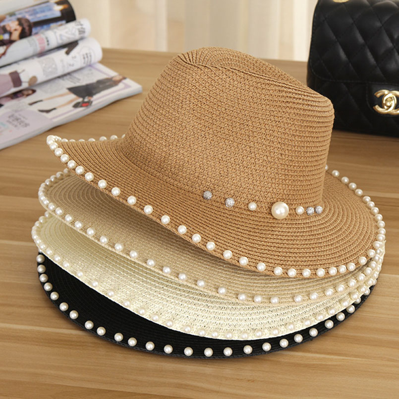 2018 New Summer Women's Outdoor Sun Hats Solid Big Brim Straw Breathable Adjustable Snapback Hat Fashion Pearl Top Cap For Lady