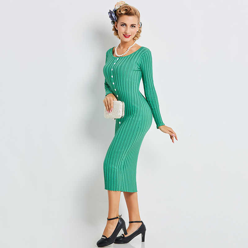 Women Sexy Dress Solid Green Bodycon Slim Midi Sweater Dress Knitted Winter  Vintage O Neck Elastic b240d67ff