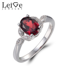 Leige Jewelry Wedding Rings Natural Red Garnet Rings January Birthstone Oval Cut Gemstone 925 Sterling Silver Romantic Gifts