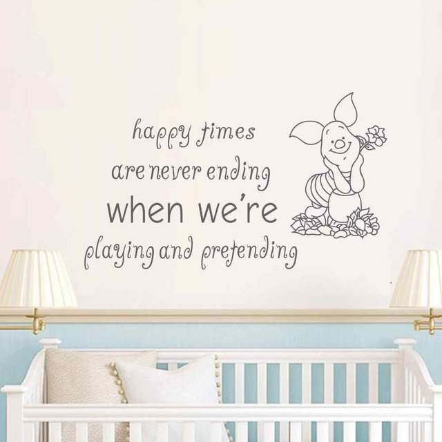 Winnie the Pooh Quote Happy times are never ending Piglet Wall Art Sticker Baby Nursery Kids  sc 1 st  AliExpress.com & Winnie the Pooh Quote Happy times are never ending Piglet Wall Art ...