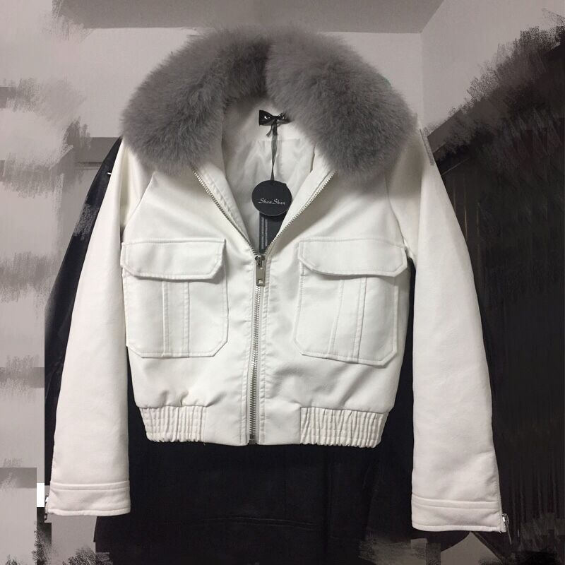 2018 Hot Women Winter Warm Faux   Leather   Jackets with Really Fur Collar Lady White Black Motorcycle & Biker Outerwear Coats