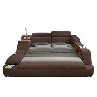 TB01001 OEM конопли ткань мягкий каркас кровати мебель для спальни с динамик массаж диван коробка для хранения многофункциональная кровать