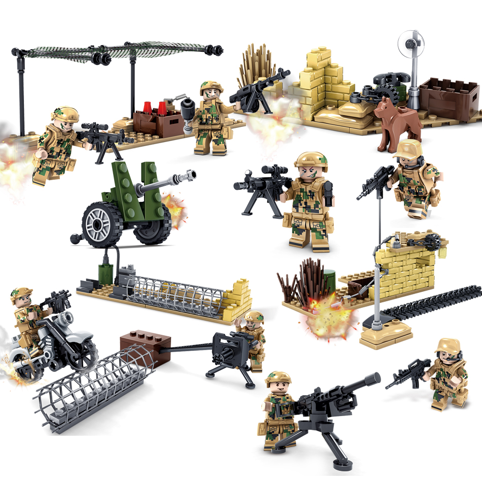 KAZI military field Army Soldiers Compatible Legoed Building blocks Weapon Bricks action figures enlighten toys for children kid