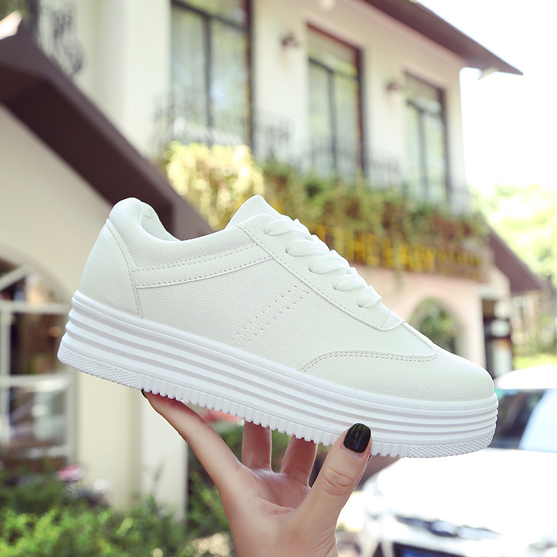 2018 Fashion Korean White Platform Sneakers Casual Shoes Women Trainers Lace Up Pink Ladies Sneakers Basket Femme