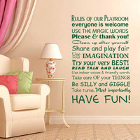 Playroom Wall Decal Rules Of Playroom Kid Room Wall Decal Nursery Room Vinyl Art Quote 129.5cm x 86.4cm