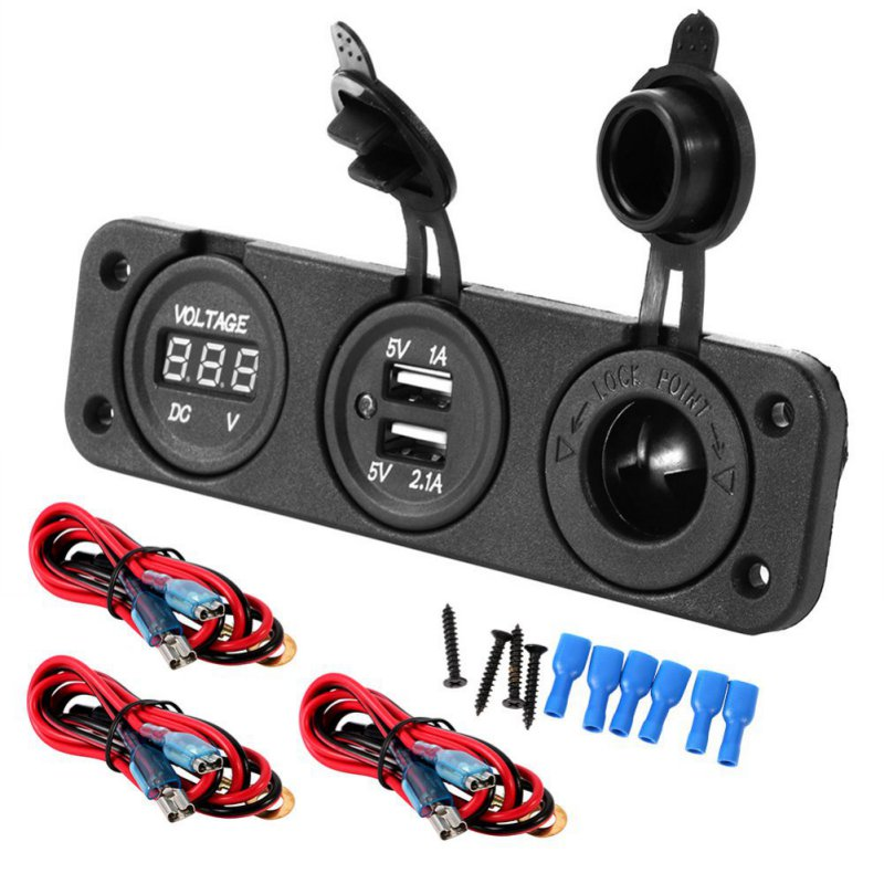 <font><b>Car</b></font> <font><b>Charger</b></font> Motorcycle Plug Dual USB Adaptor+<font><b>12V</b></font> <font><b>Cigarette</b></font> Lighter Socket Blue LED +Digital Voltmeter Mobile Phone image