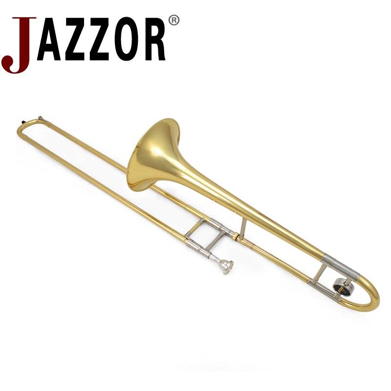 JAZZOR JBSL-710 trombone tenor Plana B com o bocal com caixa, luvas, instrumentos de sopro de metal ouro