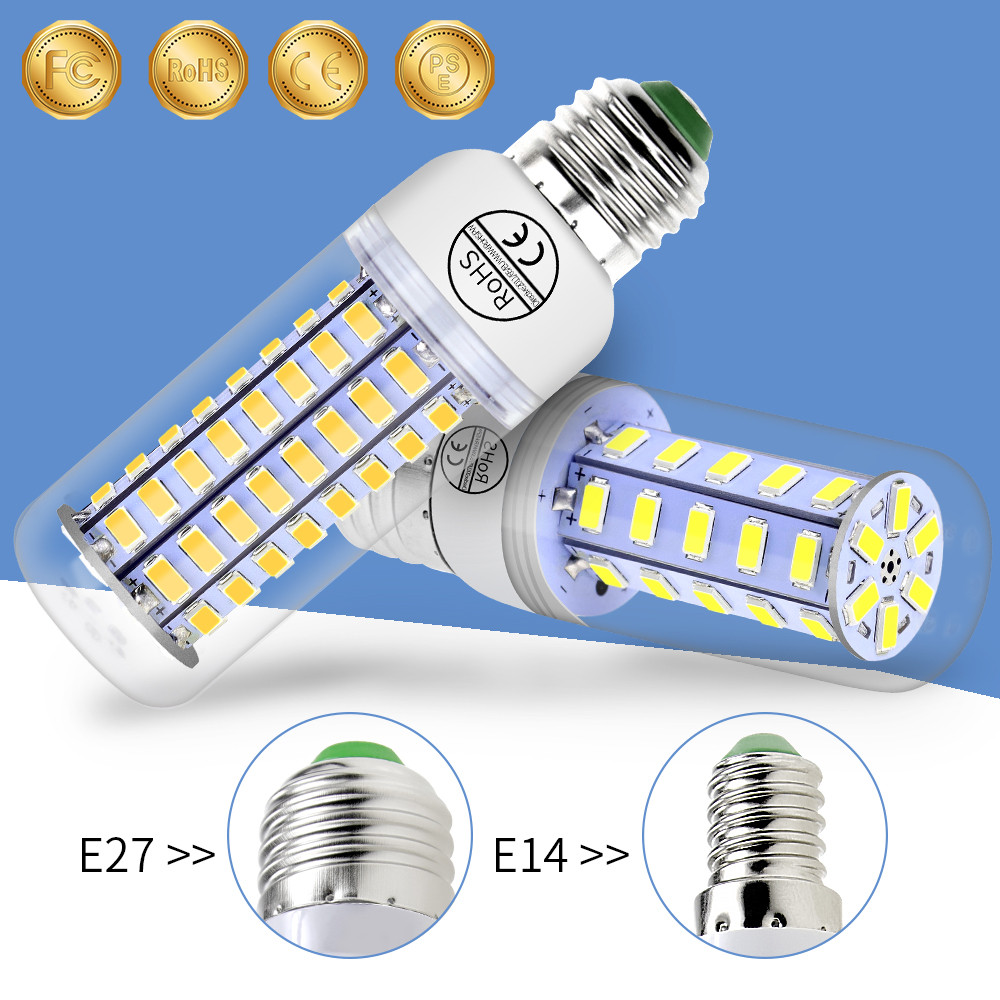 Led E27 Bulb E14 Led Lamp 230V 5730 SMD Led Corn Light 220V Modern Living room Decoration Lighting 3W 5W 7W 12W 15W 18W 20W 25W