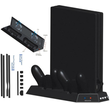PS4 Pro Vertical Stand Cooling Fan Dual Controller Charging Station HUB+Dust proof kit Mesh Jack Stopper for PS4 Pro Game Parts
