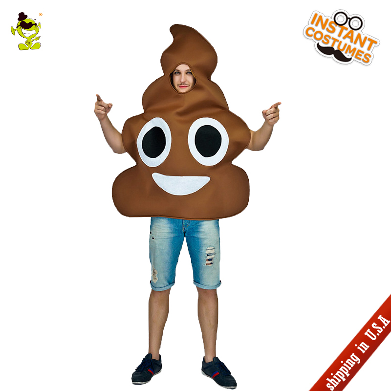 QLQ Hot Sale Unisex Poop Costumes Imitation Party Role Play Funny Halloween Fancy Dress Poop Jumpsuit for Adult Unisex