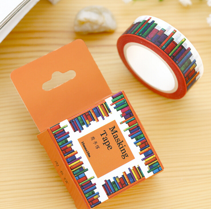 je307 1 5cm wide amazing library books washi tape diy scrapbooking sticker label masking tape. Black Bedroom Furniture Sets. Home Design Ideas