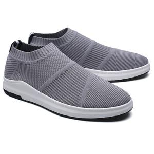 Image 5 - Krasovki erkek Nefes Slipony Sapato Erkek Ayakkabı Yetişkin Örgü Tenis rahat ayakkabılar Chaussures Hommes Zapatos Hombre Herenschoenen