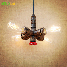 Retro Style Loft Industrial lamp Pendant lights Fixtures Lampen Water Pipe Rustic Vintage Light LED Edison bulb Lampara Colgante цены