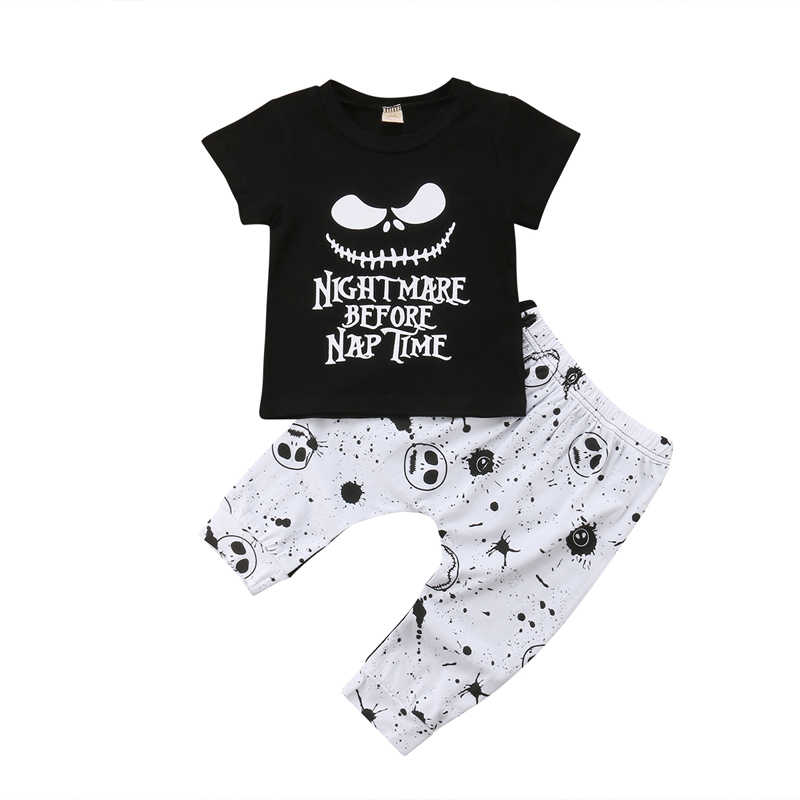d24712e29 FOCUSNORM Newborn Kids Baby Boys Clothes Set Skull Halloween Tops T-shirt  Pants Outfits Casual