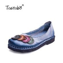 Tastabo Обувь из натуральной кожи на плоской подошве Лоферы женские однотонные удобные повседневная обувь плюс Размеры из натуральной кожи ручной работы Женские туфли-лодочки
