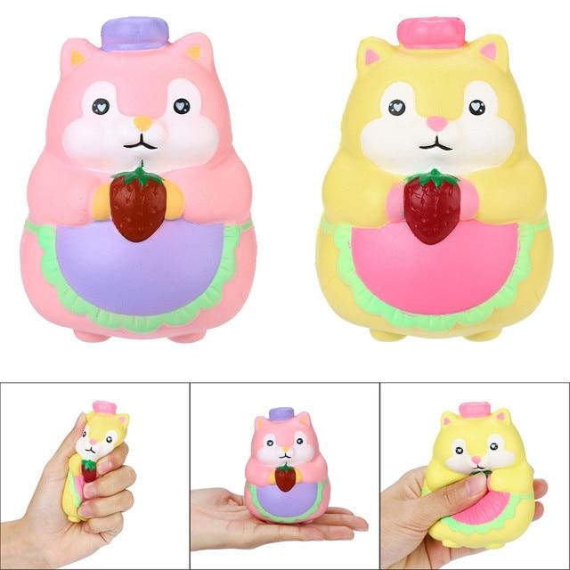 2018 Toy Kids 2 PC PU Esquilo Dos Desenhos Animados Multicolor Lento Aumento Creme Chaveiro Brinquedos 12 centímetros Super crescente Presente Favorito para As Crianças