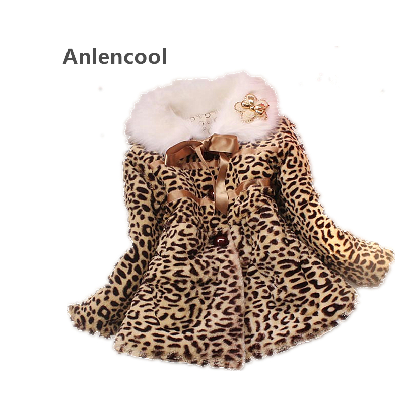 Anlencool 2018 Real Clang Bear New Fall And Winter Children's Clothing Girls Cotton Jacket Leopard Fur Collar Wool Sweater v neckline fur cuff sweater