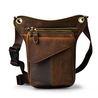 New First Layer Cowhide Genuine Leather Retro Men S Tactical Leg Pack Waist Fanny Bag Camera