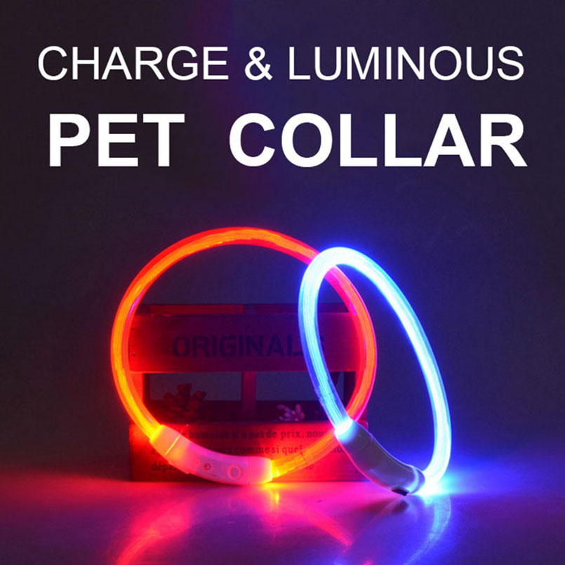 Led Dog Collar Usb Rechargeable Glowing Pet Dog Collar For Night Safety Fashion Light Up Collar For Small Medium Large Dogs