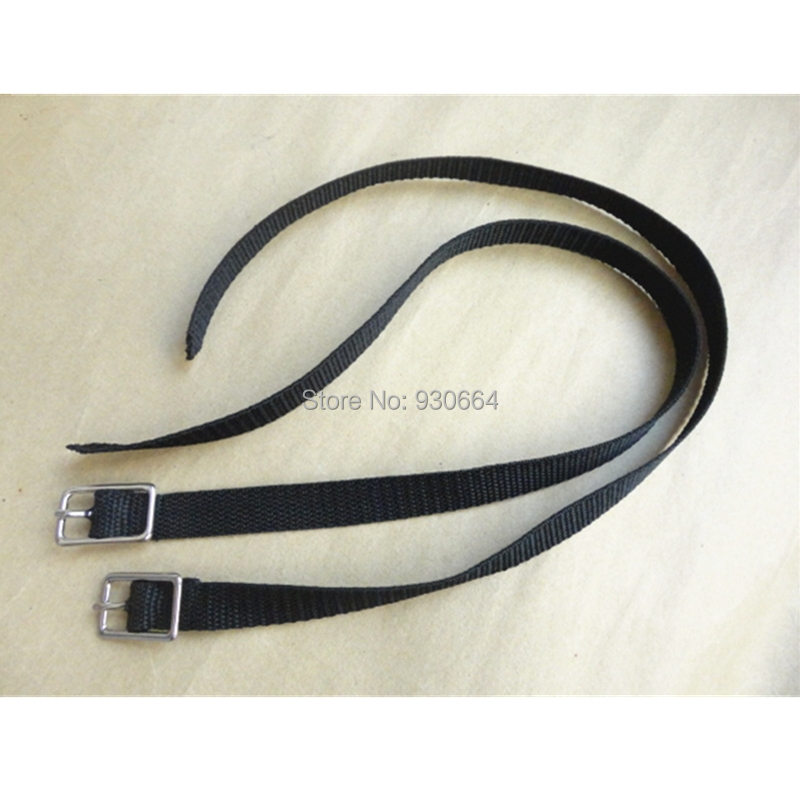 Black Nylon English Spur Straps With Stainless Steel Buckle