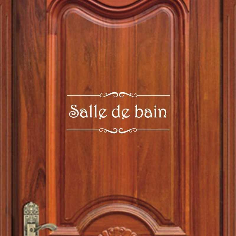 Vintageภาษาฝรั่งเศสคำPorte Salle De Bainสติ๊กเกอร์ติดผนังสติ๊กเกอร์ตกแต่งห้องน้ำห้องน้ำประตูไวนิลตกแต่งรูปลอกสติ๊กเกอร์ติดผนัง