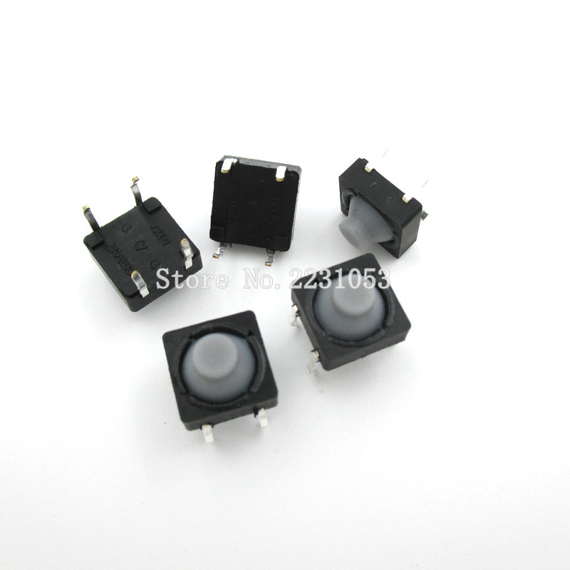 20PCS/LOT 8x8x5MM 4 Pins Conductive Silicone Soundless Tactile Tact Push Button Micro Switch Self-reset Free Shipping