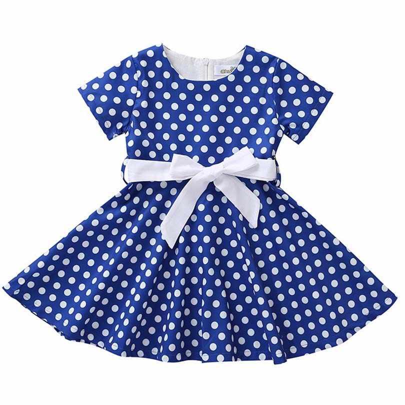 Nova marca Crianças Vestidos Para Meninas de Verão ARCO Vestido de Bolinhas Vestido de Princesa Vestido de Festa Para Crianças Novo Da Menina Do Bebê Crianças 2-8Y