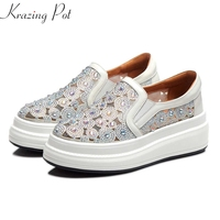 Krazing Pot new arrival natural leather slip on round toe bling diamond sneaker summer holiday breathable vulcanized shoes L57