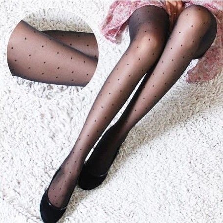 W720 New Fashion Black and white Women Pretty littile dot Style Pattern Jacquard super thin silk Pantyhose Tights wholesale