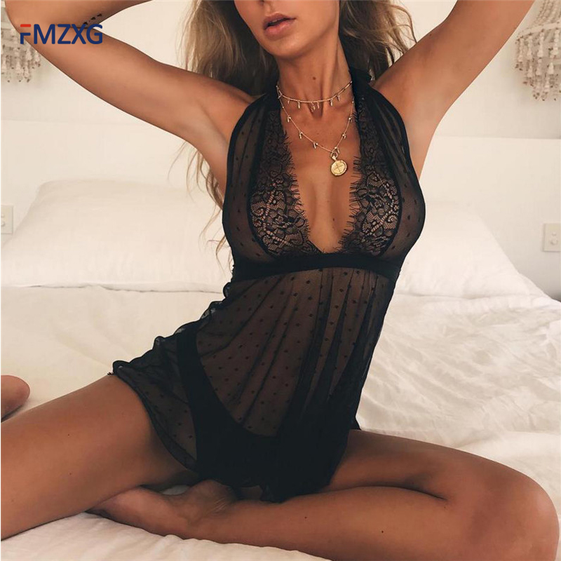 Épaules dénudées noir maille dentelle pleine glisse femmes intimes chaudes Sexy Slip profond V glisse cils dentelle Transparent pleine Slip été