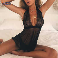 Off Shoulder Black Mesh Lace Full Slips Women Hot Intimates Sexy Slip Deep V Slips Eyelash Lace Transparent Full Slips Summer