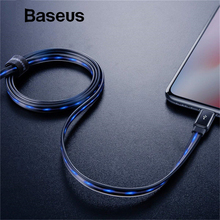 Baseus Flowing LED Glowing Charging USB Data Cable for iPhone Cable 8 7 6 Plus 6s 5s Se X iPad 1M 2.4A Fast Charge Charger Cord