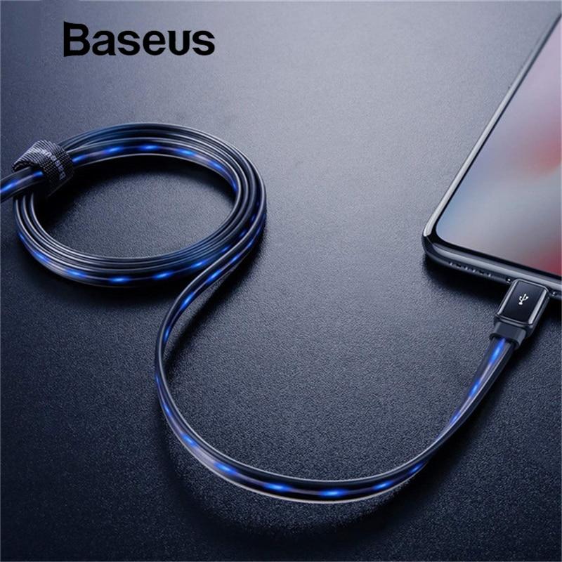 Baseus fluye LED brillante de carga de Cable de datos USB para iPhone Cable de 8 7 6 Plus 6 s 5S Se X iPad 1 iPad M 2.4A carga rápida cargador de cable