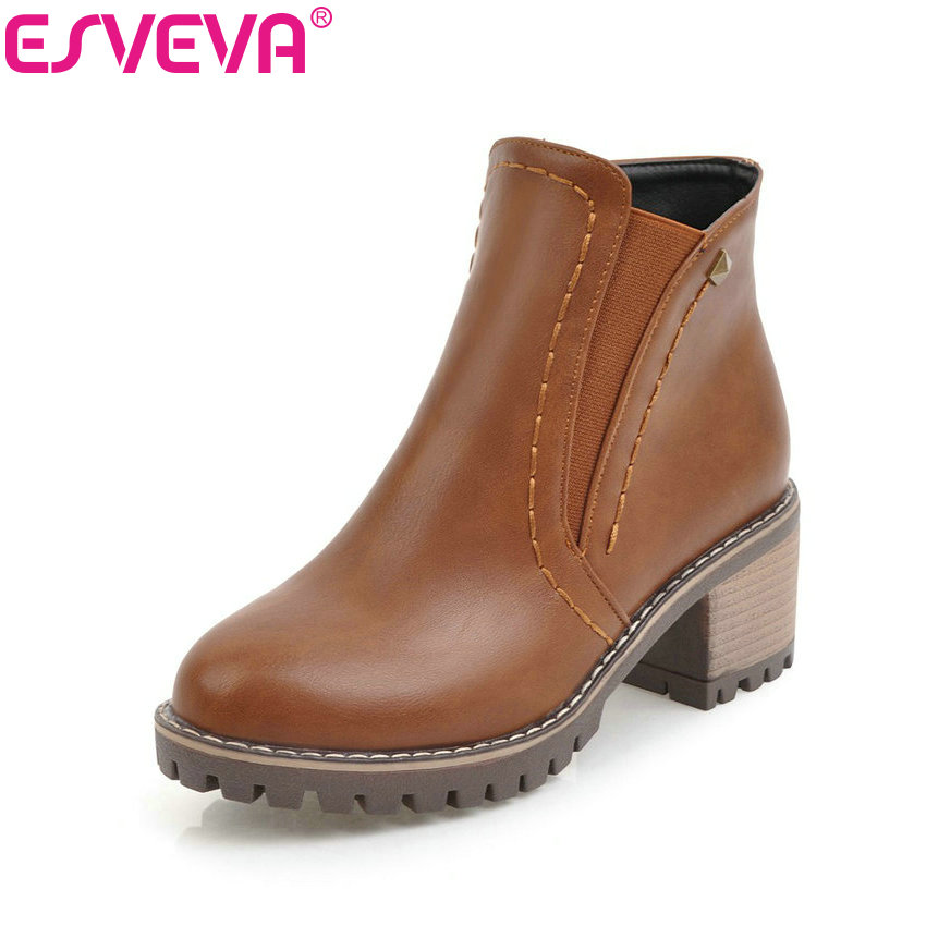 ESVEVA 2018 Chunky Women Boots Short Plush Square Heels Ankle Boots Round Toe Zippers Spring and Autumn Ladies Shoes Size 34-43 esveva 2018 women boots zippers black short plush pu lining pointed toe square high heels ankle boots ladies shoes size 34 39 page 5