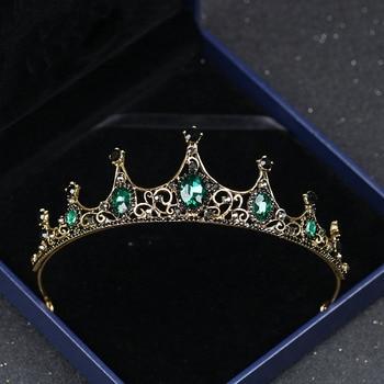 Винтажные диадемы и короны в стиле барокко с имитацией Изумрудного хрусталя, украшения для волос, женский головной убор для девочек, свадеб...