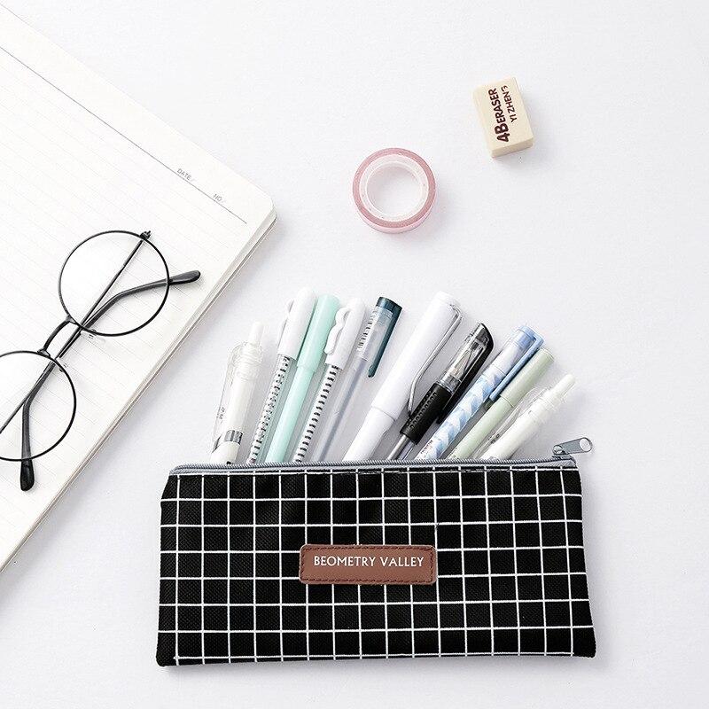 Pencil Bag Case Grid Dot Canvas Stationery Storage Simple Organizer  2