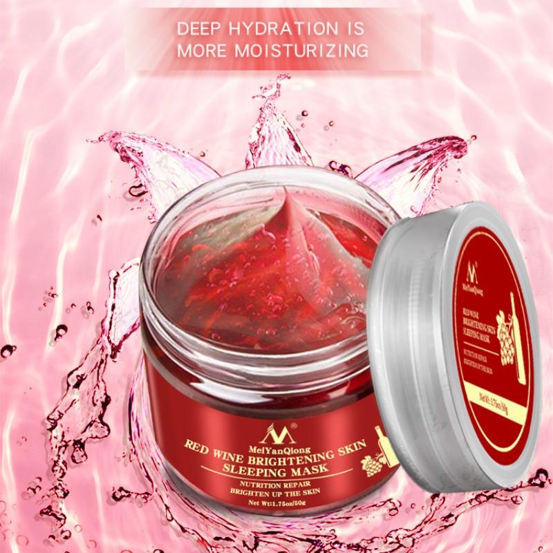 Korea Red Wine Essence Sleeping Facial Mask 100g Gel Whitening Cream Moisturizing Night Cream Aging Nutrition Brighten FaceTSLM1