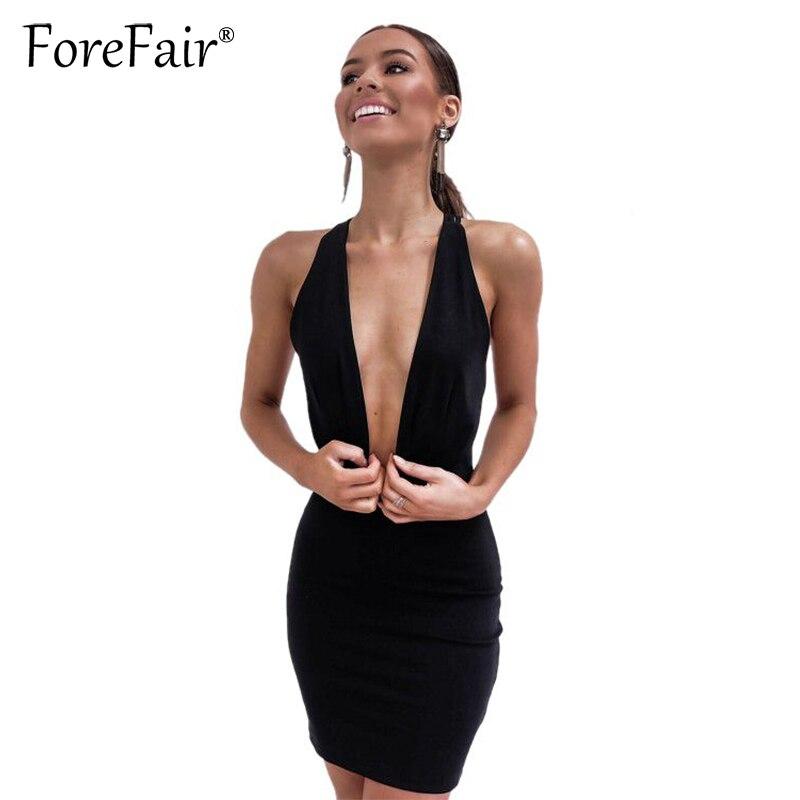 Forefair 2018 Sommer Neue Frauen Dünne Club Kleid Schwarz Sexy Tiefem V-ausschnitt Backless Verband Bodycon Partei Halfter Mini Kleid