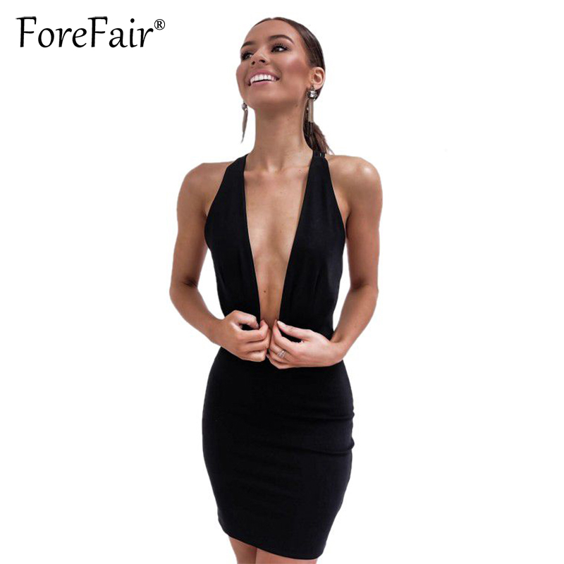 Forefair 2018 Summer New Women Slim Club <font><b>Dress</b></font> Black <font><b>Sexy</b></font> <font><b>Deep</b></font> <font><b>V</b></font> Neck Backless Bandage Bodycon Party Halter Mini <font><b>Dress</b></font> image